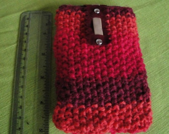 red phone cosy, i phone cover, knitted phone cosy, mobile phone cover ,wool knit phone case, phone cosy, red ombre phone cosy, phone cover