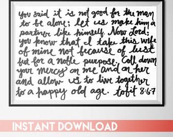 Wedding Bible Verse Printable, Last Minute Wedding Gift, Book of Tobit Digital Download, Bible Verse Home Decor