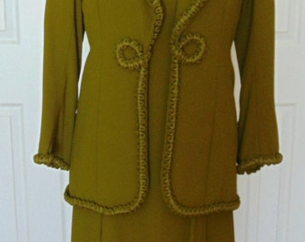 REDUCED - Vintage Designer Green Maxi Dress with Jacket - Vintage Evening Gown,  1970's