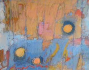 Abstract Art, Expressive art, Original Art, Abstract Expressionism, Modern art, orange and blue, Mental health theme