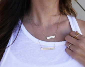 Classic Bar Necklace /Personalized Nameplate Necklace/ Gold Name Bar/ Layering Necklace/ Gold Fill / Sterling Silver/ Bridesmaid Gift/ N246