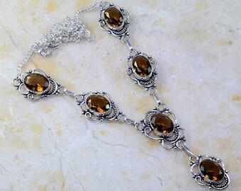 """Smoky Quartz Necklace 18 1/2"""" Princess Style"""