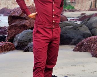 Jumpsuit for Men, Unique male fashion, Unique suit, Maroon Jumpsuit, Maroon Jumpsuit, Designer one-piece,  onezee, onesie