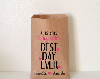 Best Day Ever Wedding Favor Bag, Personalized Wedding Favor Bag, Treat Bags, Custom Favor Bags, wnw29
