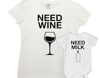Mom And Daughter Matching Outfits Mommy And Son Shirts Baby Shower Gift Matching Family Shirts Need Wine Need Milk Bodysuit - SA653-634