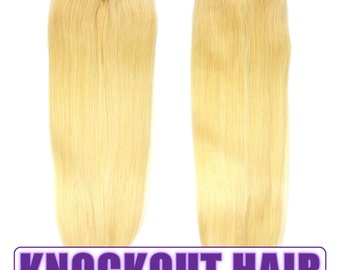 "Fits like a Halo Hair Extensions 20"" Lightest Blonde (#60) - Human No Clip In Flip In Couture by Knockout Hair"