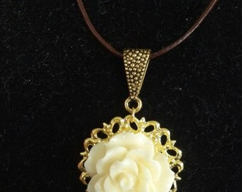 White Rose Pendant Necklace