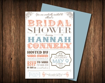 Bridal Shower Invitation: Classic, Personalize, Printable DIY File