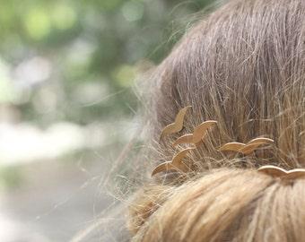 Gold Hair Jewelry, Weddings Accessories, Hair Jewelry, Bridal Hair Accessories, Gold Geometric Birds Hair Pins, wedding hair accessories
