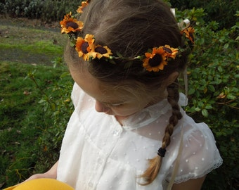 Sunflower Crown,Flowergirl Crown,Golden Sunflowers, Bridesmaid Hair Crown, Kansas Hair Wreath, Boho Flower Crown, Hippie Hair Wreath