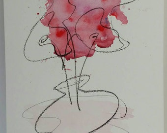 AQUARELL ORIGINAL. Abstrakte Kunst. A3. Lebendig und fantasievoll. Unikat. Kein Druck. Nicht gerahmt.