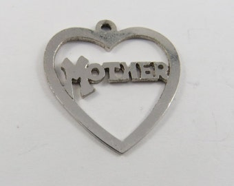 Heart Shaped Mother Sterling Silver Charm or Pendant.