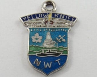 Enameled Coat of Arms Yellowknife N.W.T. Canada Travel Shield Sterling Silver Charm or Pendant.