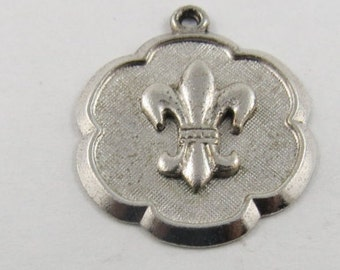 French Fleur de Lis  Sterling Silver Charm or Pendant.
