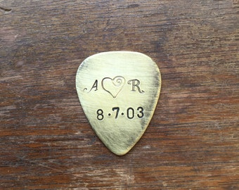 Couples Initials Curly Heart and Date Personalized Hand Stamped Guitar Picks Gift - Aluminum Copper Brass - Gift under 20 dollars