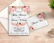 Romantic Bohemian Baby Shower, Floral Baby Shower Invitation, Printable Boho Baby Shower Invite,  Roses Baby Invite, Digital Invite