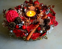 Сhristmas Candle Wreath, holiday centerpiece, Candle Ring, Christmas Candle Ring, Xmas