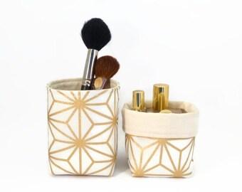 Makeup organiser, Gold, Makeup brush holder, Gold pencil holder, House warming gift, Gold brush holder, Makeup storage, Storage basket