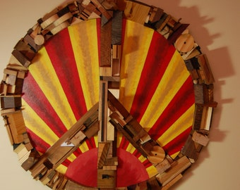 Wood Assemblage Wall Peace Sign