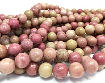 10mm Smooth Genuine Rhodonite Gemstones Full Strand (39 round Beads)