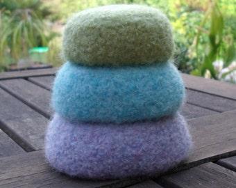 Pretty Pastel Mini Felted Wool Nesting Bowls / Set of 3