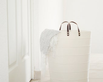 Laundry hamper. Large toy storage. Bathroom storage bucket Nursery fabric basket. Canvas storage bin White home decor Laundry room Kids room
