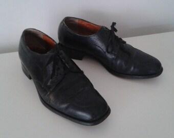 Vintage 1950's Florsheim Black Leather Oxfords Tie Shoes Sz Men's 7 1/2 Women's 9 Classic