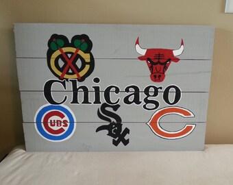 Custom Chicago Sports Teams Wood Sign