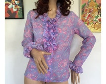 Vintage 60s 70s Psychedelic Print Frilly Blouse Patterned Top Shirt Mod GoGo Scooter Kitsch Folk Gypsy Hippie Hipster Prairie 1960s 1970s