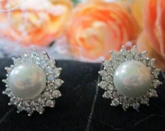 Simply Beautiful Pearl and Diamond Earrings