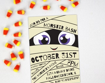 Halloween Party Invitation   Little Mummy Theme   Monster Bash   Printable or Printed Options