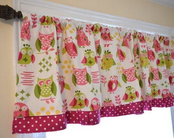 """Owl curtain baby nursery 16"""" blackout lined window valance lime green dark pink yellow polka dot double layer OWL always LOVE YOU cute girl"""