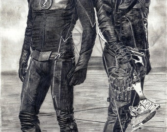 FLASH VS ARROW - Pencil Drawing (Art Print)