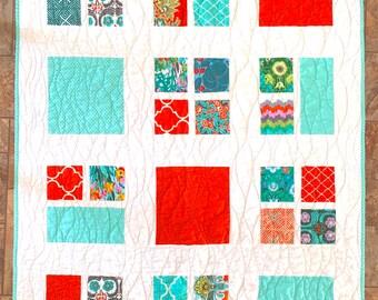 "Handmade Quilt, Orange & Aqua Quilt, 40"" x 53"", Amy Butler Fabric, Modern Quilt, Lap Quilt, Throw Quilt, Child Quilt, Baby Quilt, Crib Quilt"