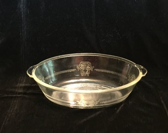 Vintage Glasbake Clear Glass Baking Dish with Etched Pattern- 1 QT Oval Casserole Dish