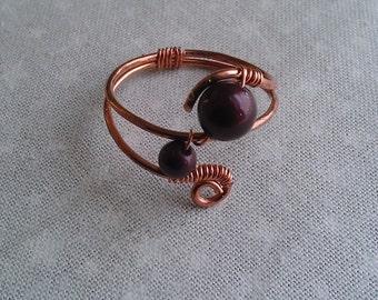 copper ring , swarovsky pearl ring , handmade ring, handmade jewelry