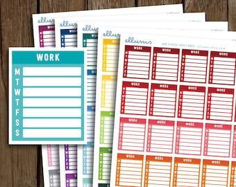 Work Side Bar Stickers | PRINTABLE Pdf | Monday Start Work Planner Stickers | Work Schedule Boxes | Weekly Work Tracker | fits Erin Condren