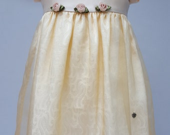 Sateen, Brocade and Georgette. Buttercream & Gold Bridesmaid / Special Occasion Dress From JQ's Felicity Range 6 to 9 months