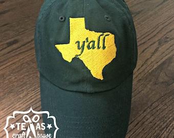 Home Texas Y'all Monogram Baseball Hat