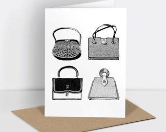 Vintage handbags greetings card (risograph printed)