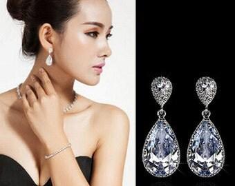 Sparkle filled cz earrings Wedding earrings Cubic zirconia earrings Bridal earrings Wedding jewelry Dangle Earrings Bridal Jewelry