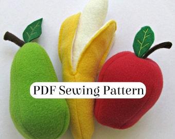 Play Food Fruit Pattern - PDF Sewing Pattern - Fleece Food Fruit - Banana Apple and Pear - DIY Pretend Food - Plush Fruit Softie