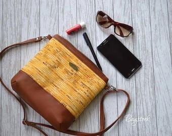 Brown faux leather crossbody bag, Fabric handbags, Travel bag, Spring gift women, College dorm girl, Vegan purse, Small crossbody