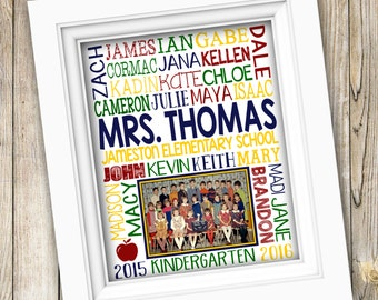 Teacher Appreciation Gift for Teacher ~ Class Photo Gift ~ Gift from Class Teacher Gift Student Names Photo Gift ~ End of Year Gift DIGITAL