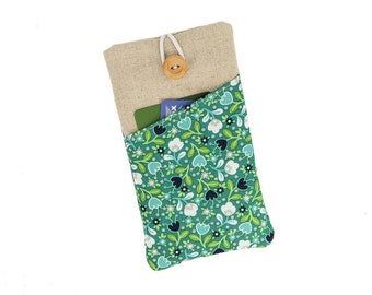 Floral iPhone case, iPhone 6s plus case, iPhone 7 sleeve, iPhone 5 cover, iPhone SE, iPhone 7 plus case, iPod 6G, iPhone cover, Teal  floral