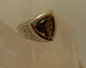 SMOKEY QUARTZ RING Size 7 Sterling Silver