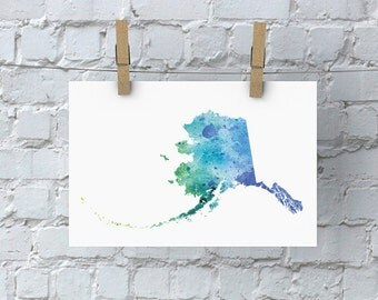 Alaska Watercolor Map - Giclée Print of Hand Painted Original Art - 5 Colors to Choose From