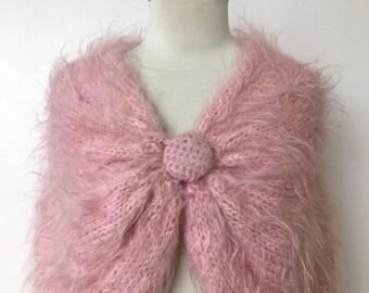 25% OFF SALE 1950's Bubblegum Pink Angora & Mohair Hand Knit Shawl