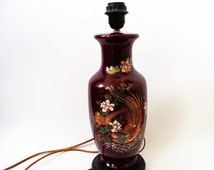 French Table Lamp, Porcelain Table Lamp, Floral Table Lamp, Peacock Table lamp, French Red Table Lamp, Hand Painted Table Lampe