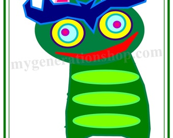 Green Pink Horned Creature Little Ones Poster